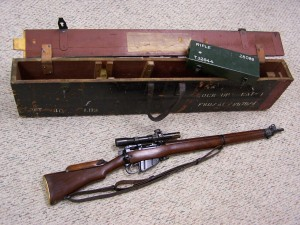 B.S.A. NO.4 MK.I (T) .303 SNIPER RIFLE WITH WOOD TRANSIT CRATE, 1945