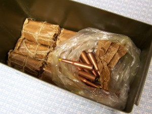 7.62X54R FMJ AMMO IN GI CAN, 180RDS.